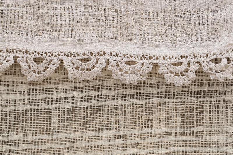 Textured linen. Fabric, floral pattern stock photography