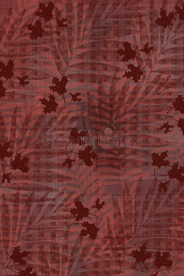 Textured maple leaf and palm frond Japanese style cloth design background in indigo red overdye. Grunge antiqued background dyed look with Japanese style inked stock illustration