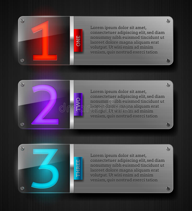 Download Textured Metal Banners With Luminous Numbers Stock Vector - Image: 25154319