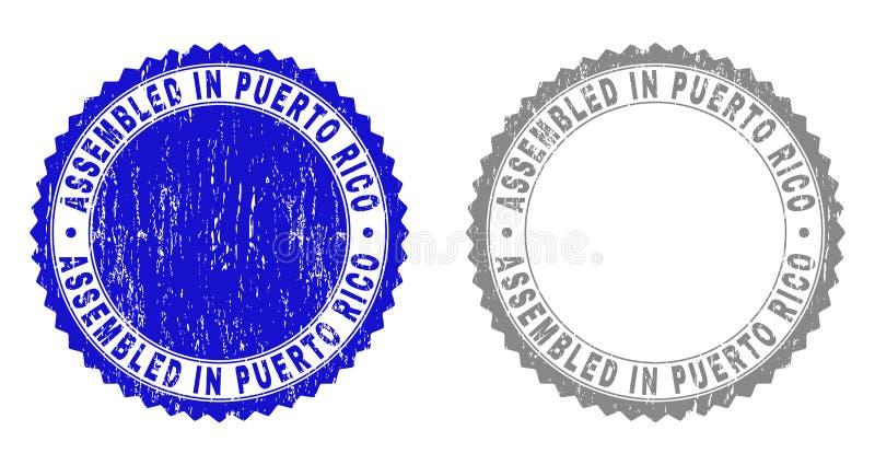 Textured MONTADO em PUERTO RICO Grunge Stamp Seals ilustração stock