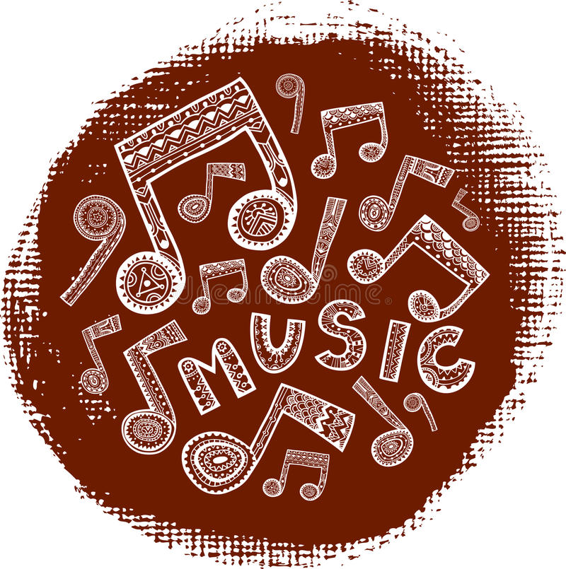 Textured music circle stock illustration