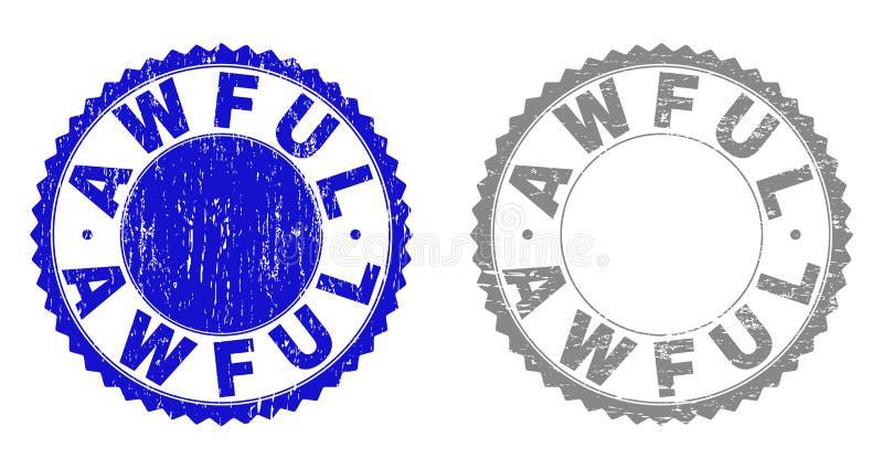 Textured OKROPNI Grunge znaczki ilustracji