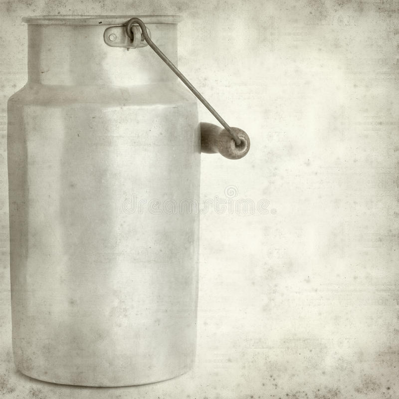 Textured old paper background. With aluminium milk pail royalty free stock photos