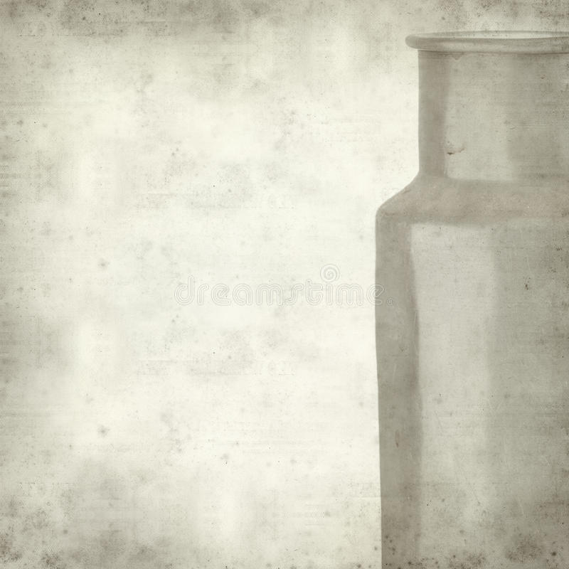 Textured old paper background. With aluminium milk pail royalty free stock images