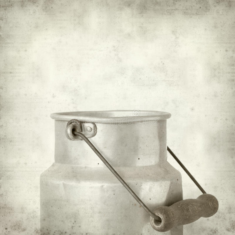 Textured old paper background. With aluminium milk pail stock images