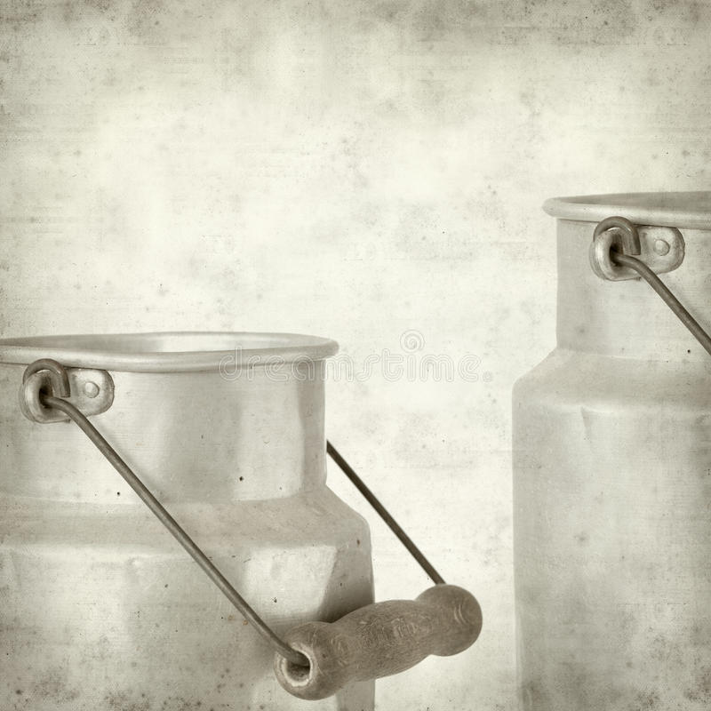 Textured old paper background. With aluminium milk pail royalty free stock photography