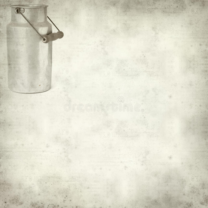 Textured old paper background. With aluminium milk pail stock photo