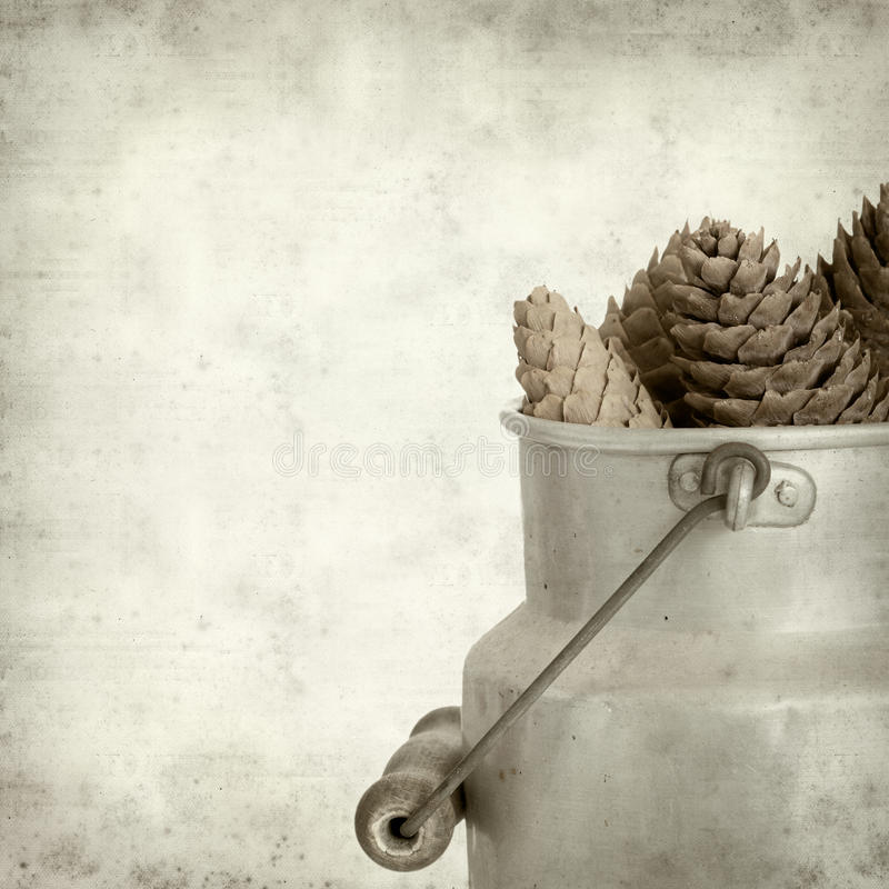 Textured old paper background with. Aluminium milk pail royalty free stock photos