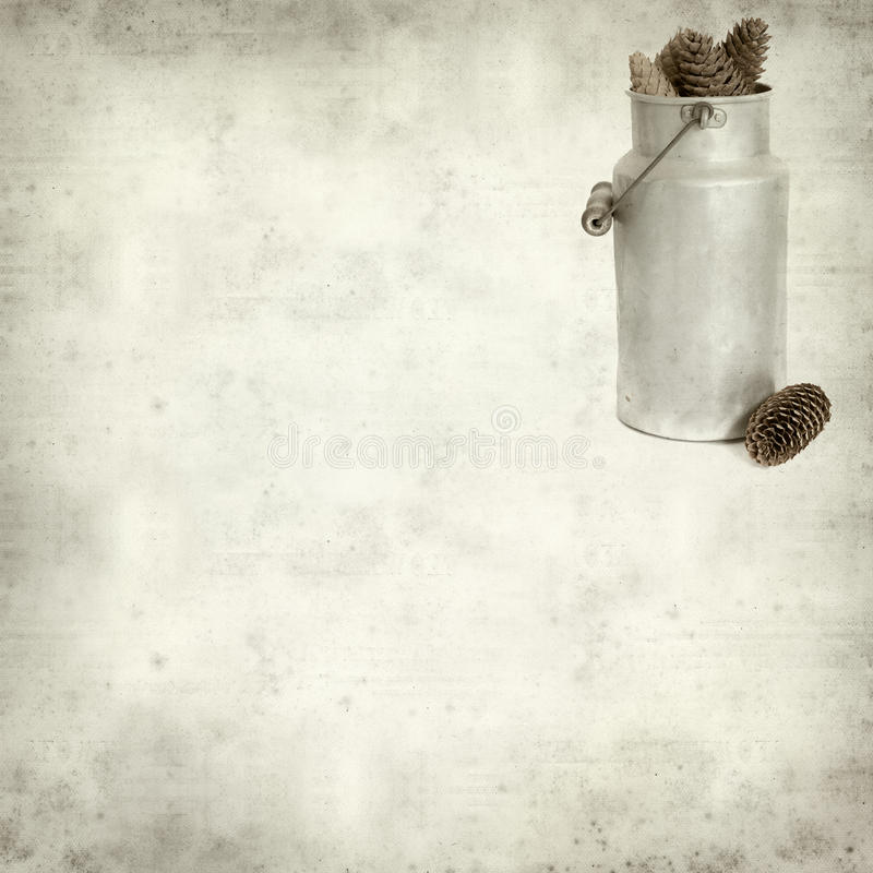 Textured old paper background with. Aluminium milk pail royalty free stock images