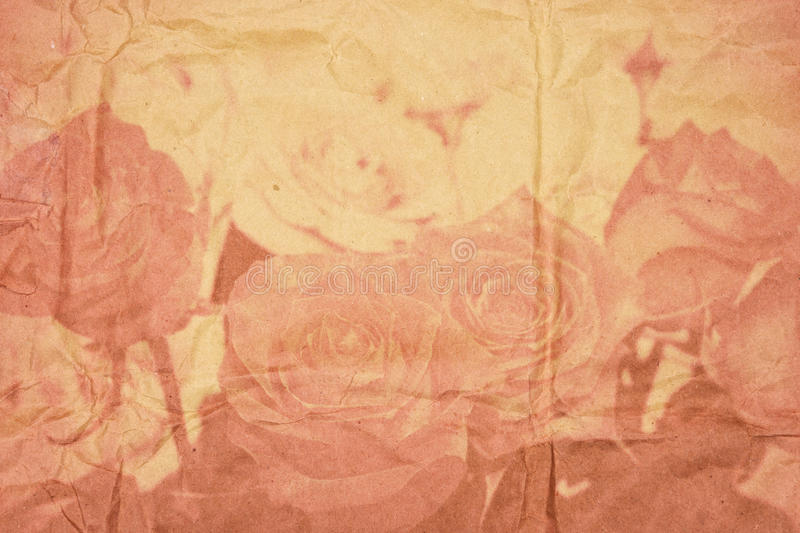 Textured old paper with vintage roses in double exposure royalty free illustration