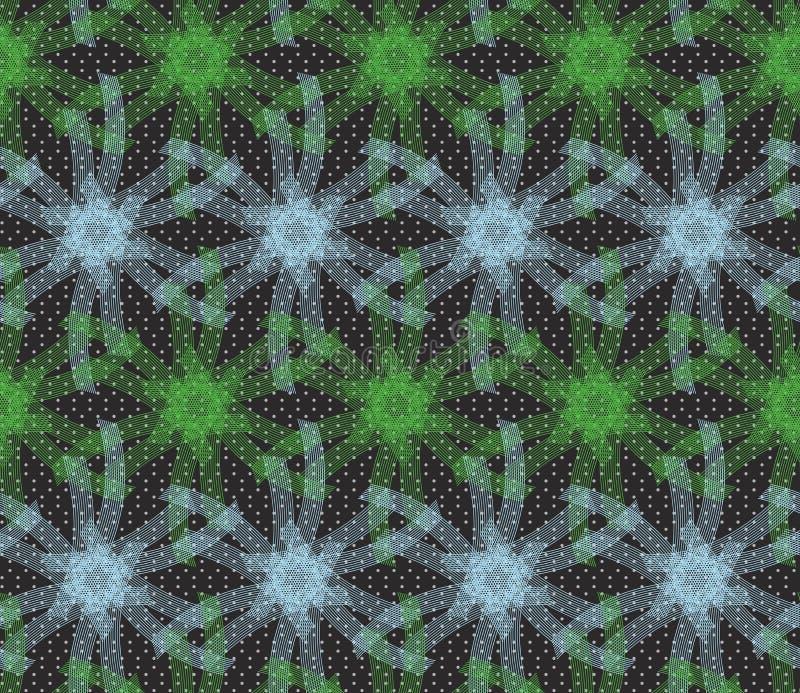 Textured ornament z zielenią i błękitnymi liniowymi gwiazdami ilustracji