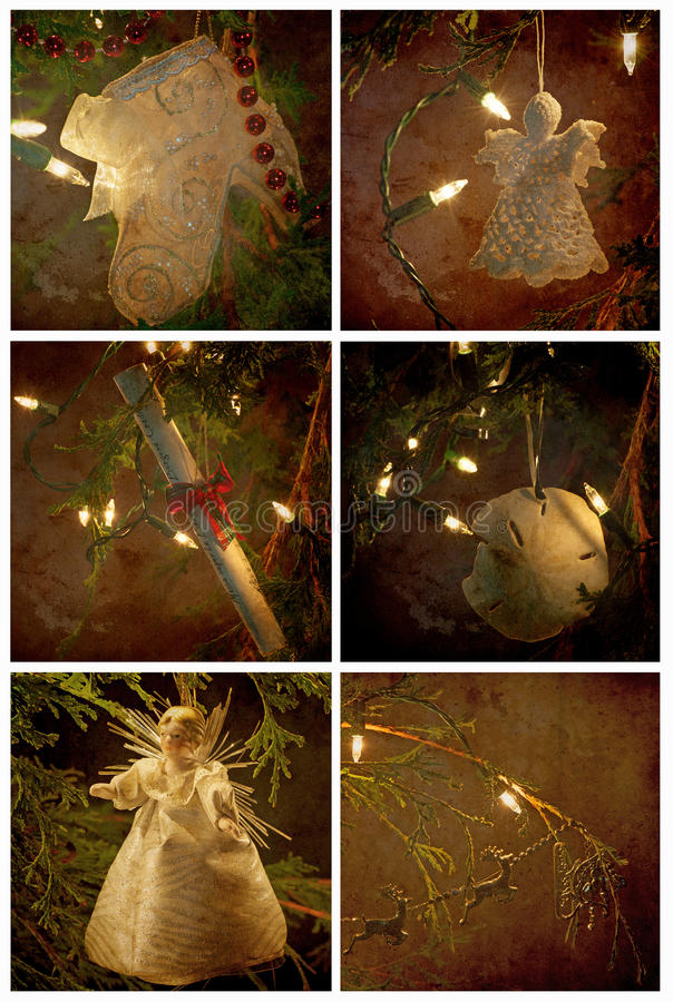 Textured ornaments Christmas themed collage. royalty free stock images