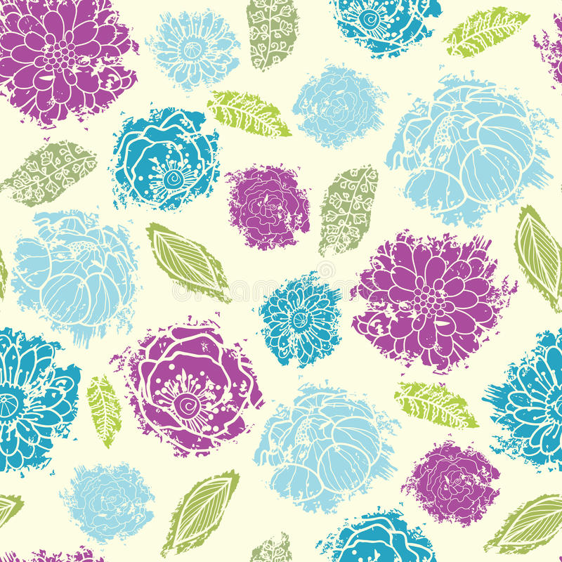 Textured painted flower seamless pattern vector illustration