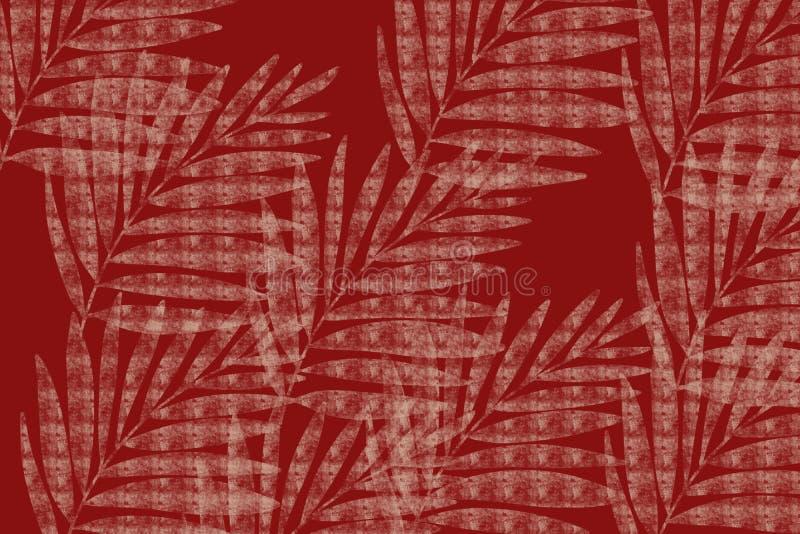 Textured palm frond Japanese style cloth design background in indigo red overdye. Grunge antiqued background dyed look with Japanese style inked block print look vector illustration