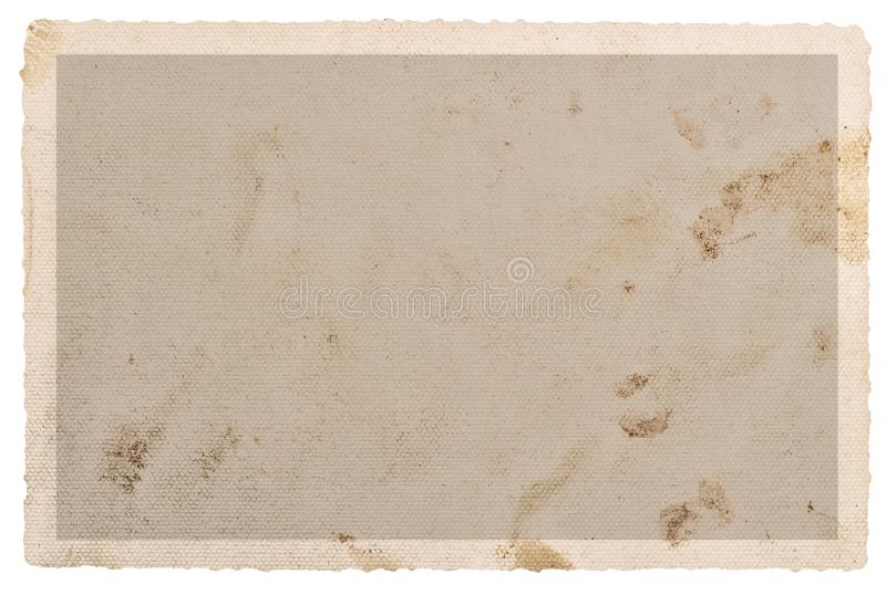Textured paper photo card stains edges. Textured paper photo card with stains and edges isolated on white background stock photography