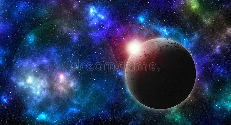 Textured planet on colored sky royalty free illustration