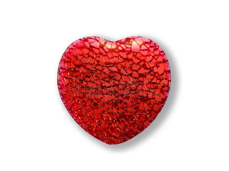 Textured red heart on white background royalty free stock images