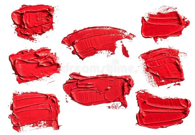 Set of eight textured red oil paint brush stroke. Convex with shadows, isolated on white background. Each item can be downloaded separately in high resolution royalty free stock photo