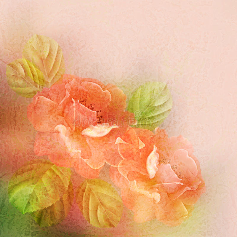 Free Textured Romantic Background With Roses And Leaves Royalty Free Stock Photography - 30170807