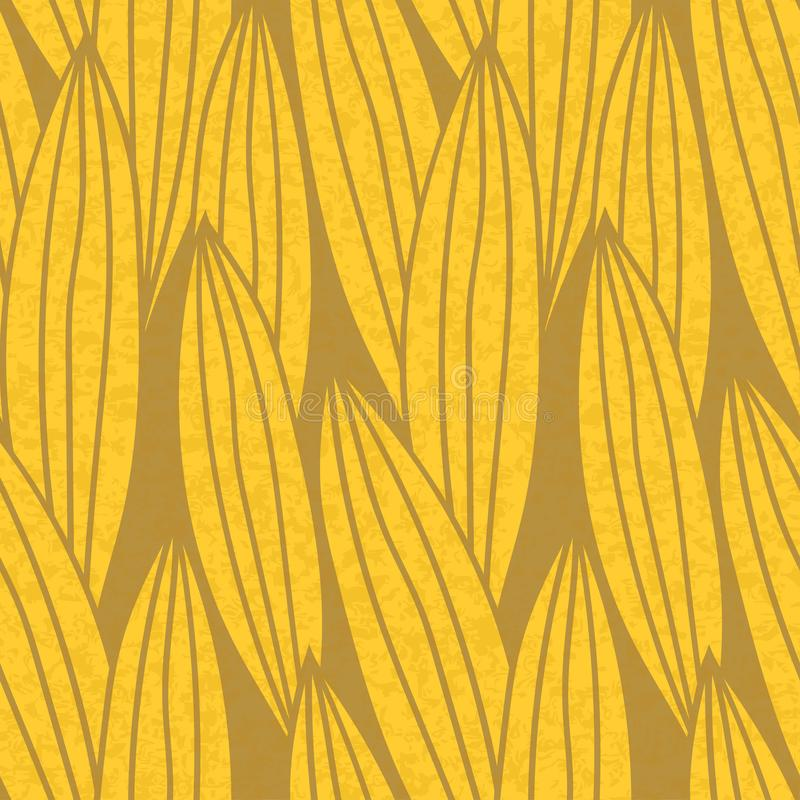 Seamless pattern in warm tones with long striped leaves. stock illustration