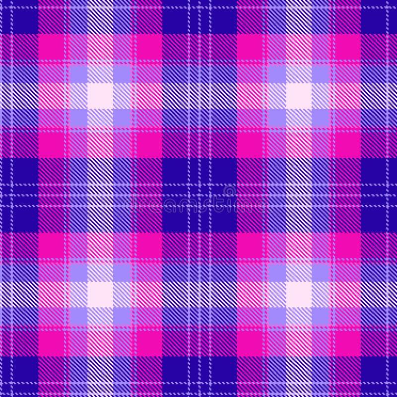 Colorful pink and blue scottish tartan plaid seamless pattern royalty free illustration