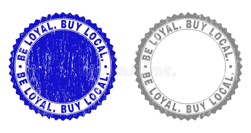 Textured SEJA LEAL Compre o Local Selos riscados do selo ilustração do vetor