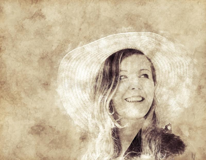 Textured sepia toned portrait of a young woman royalty free stock photography