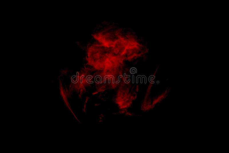 Textured Smoke, Abstract red,isolated on black background stock photography