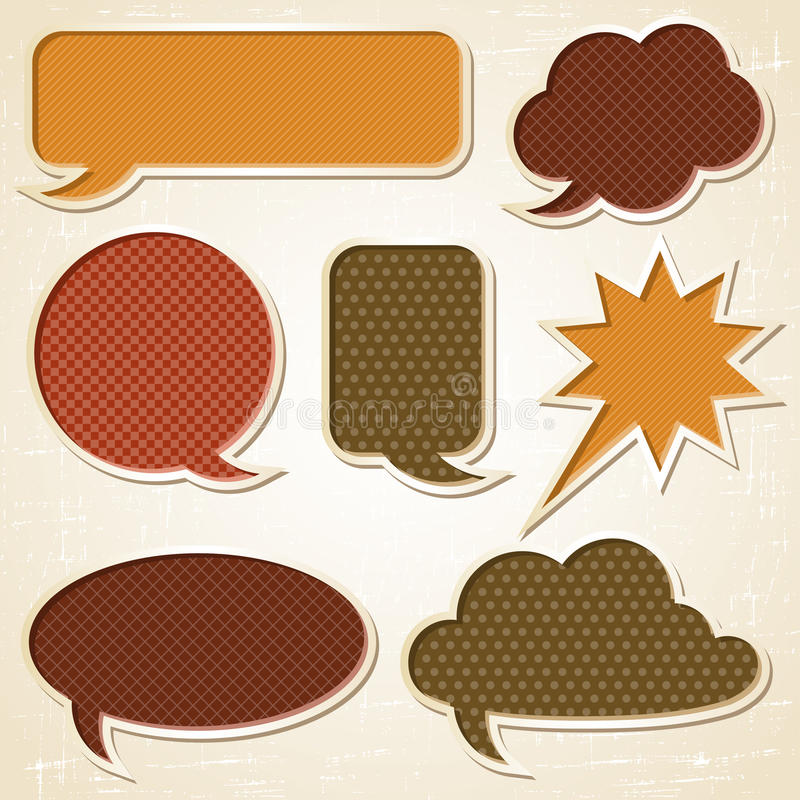 Textured speech bubbles and stickers set in retro royalty free illustration
