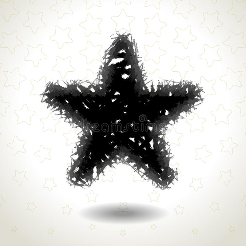 Textured Star Icon on star pattern, messy and disorderly. Graphics mixed change effect stock illustration