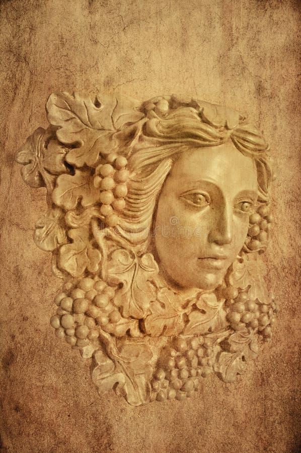 Textured tło Gronowa z włosami Grecka kobiety sconce statua zdjęcia stock