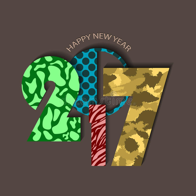 Textured urban New Year 2017 concept on brown background. Vector illustration vector illustration