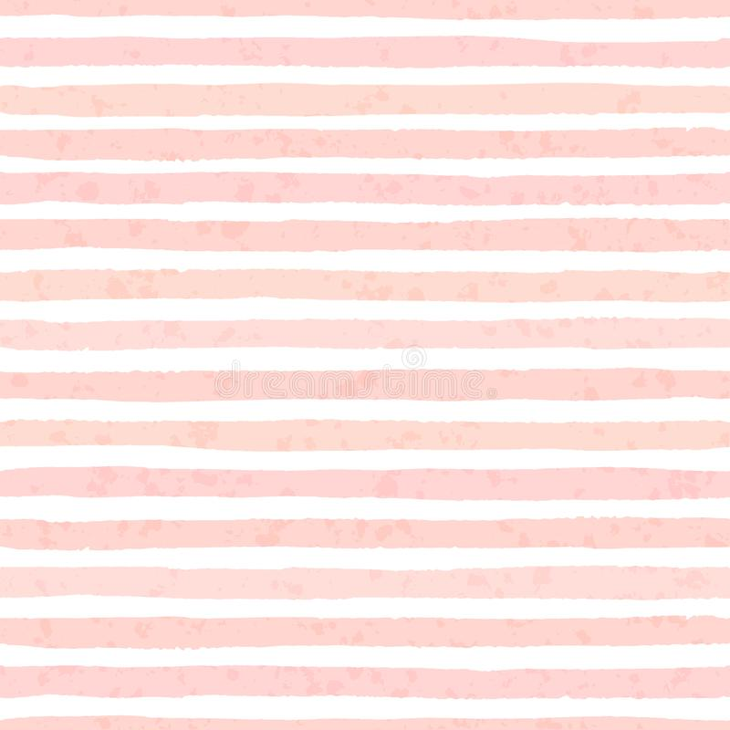 Textured vector grunge stripes of pastel pink colors seamless pattern royalty free illustration