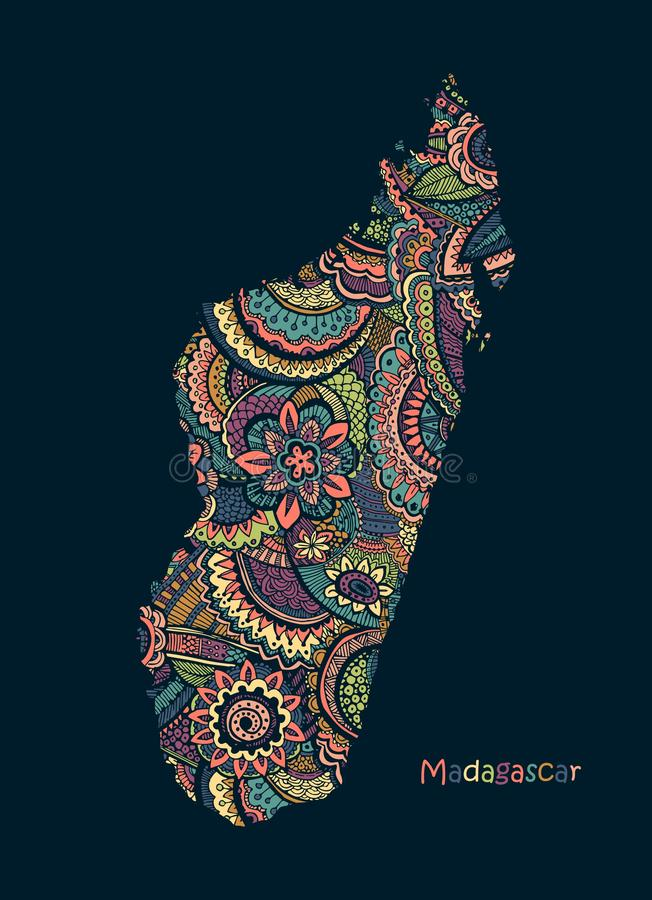 Textured vector Map Of Madagascar. Illustration in hand drawing doodle style stock illustration