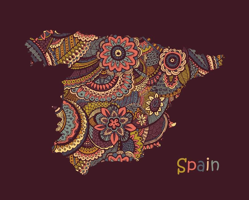 Textured vector map of Spain. Hand drawn ethno pattern stock illustration