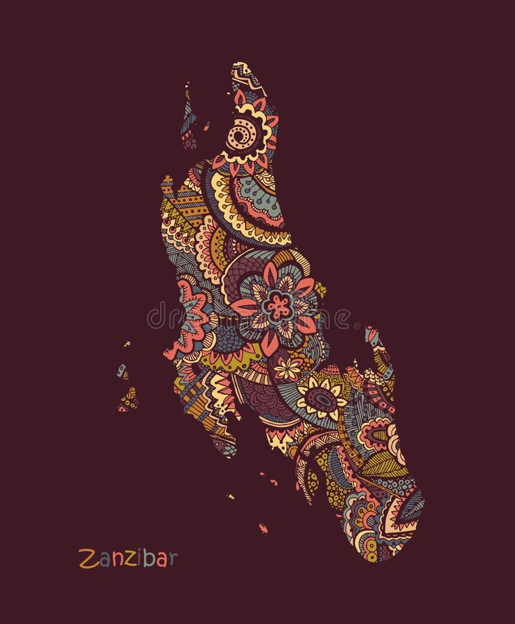 Textured vector Map Of Zanzibar. Illustration in hand drawing doodle style royalty free illustration