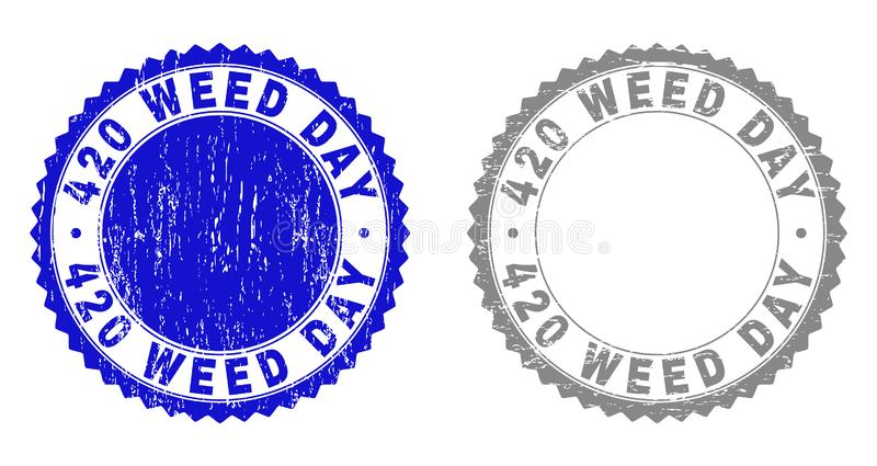 Textured 420 WEED DAY Grunge Stamp Seals with Ribbon. 420 WEED DAY stamp seals with grunge texture in blue and grey colors isolated on white background. Vector royalty free illustration