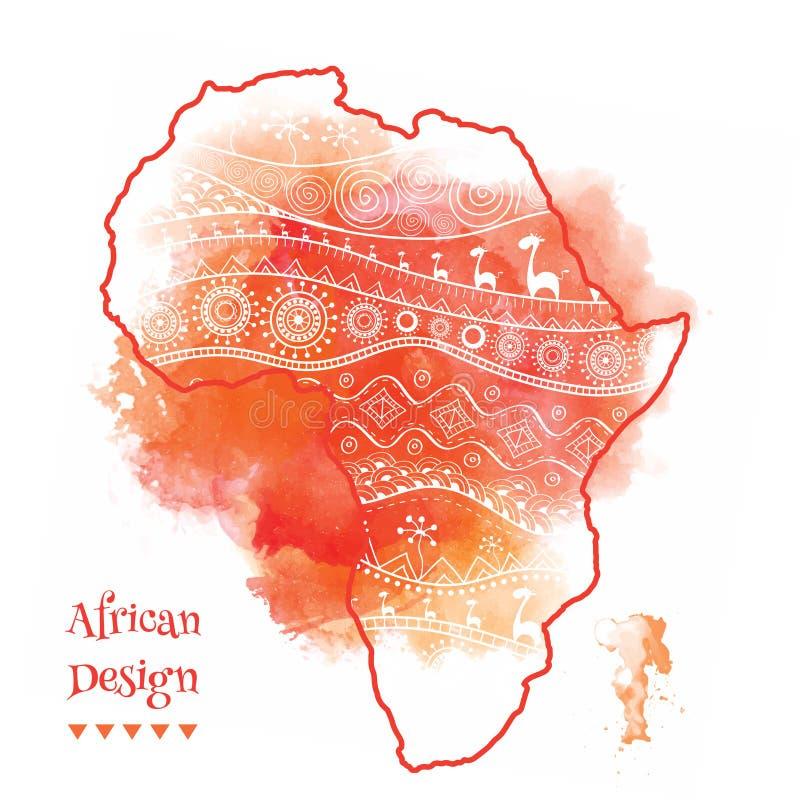 Textured wektorowa mapa Afryka Pociągany ręcznie ethno wzór, plemienny tło również zwrócić corel ilustracji wektora Abstrakcjonis