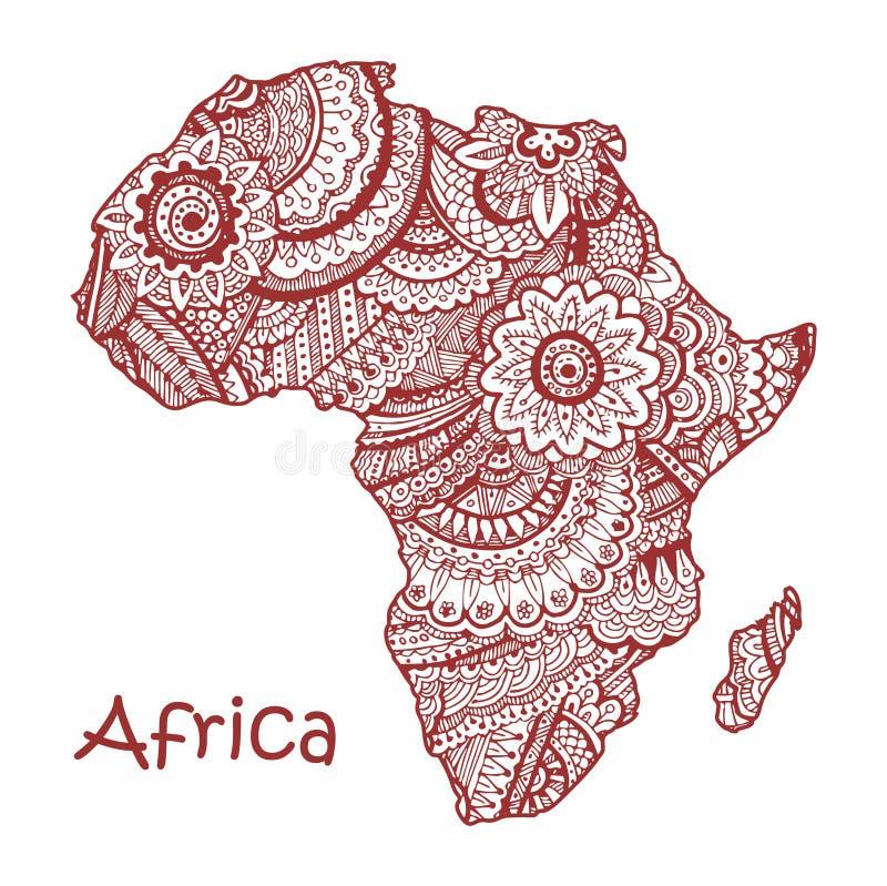 Textured wektorowa mapa Afryka Ręka rysujący ethno wzór, plemienny tło ilustracji