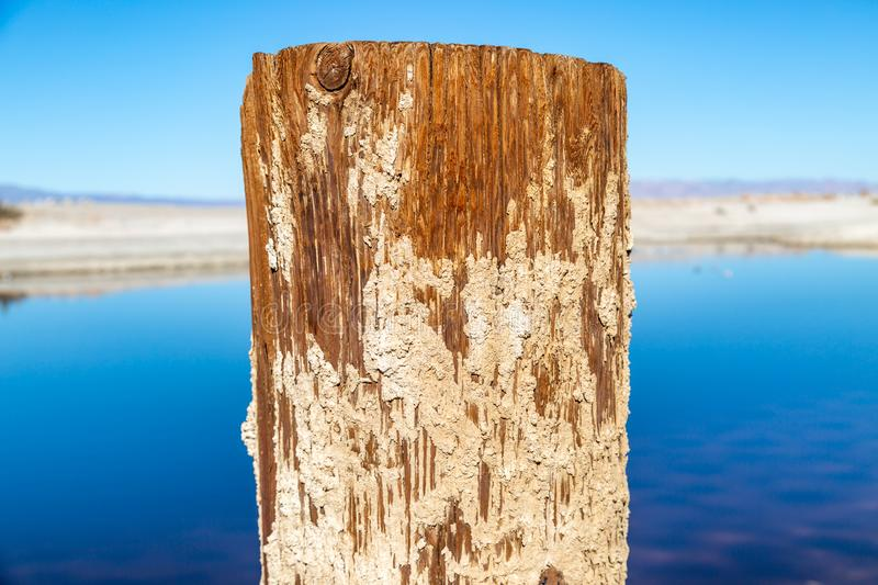 A Wooden Post at the Salton Sea in California royalty free stock images