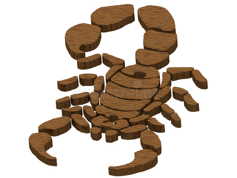 Textured Wooden Scorpion Royalty Free Stock Photos