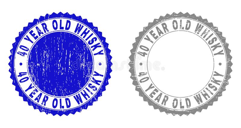 Textured 40 YEAR OLD WHISKY Scratched Stamp Seals with Ribbon stock illustration