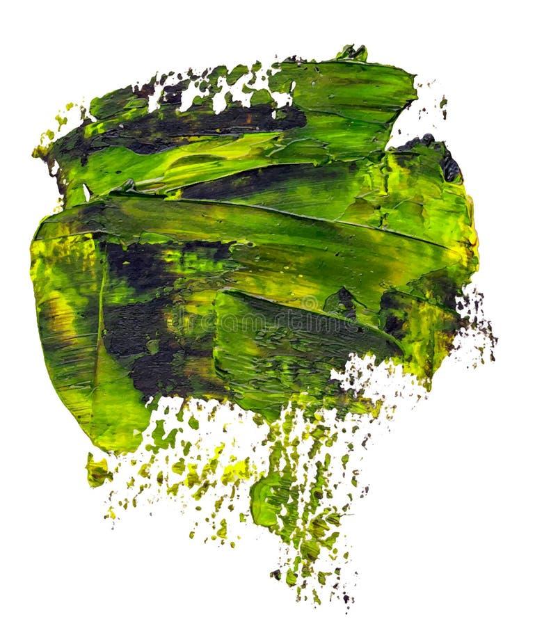 Textured zieleń i czarny nafcianej farby muśnięcia uderzenie ilustracja wektor