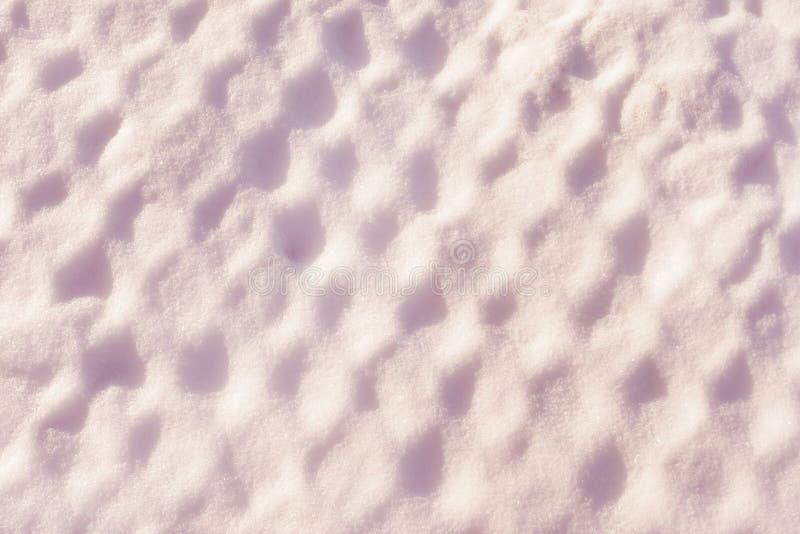 Texturen är insnöad cellerna Snöig ingrepp efter snöstorm Rosaaktig bakgrund arkivfoton