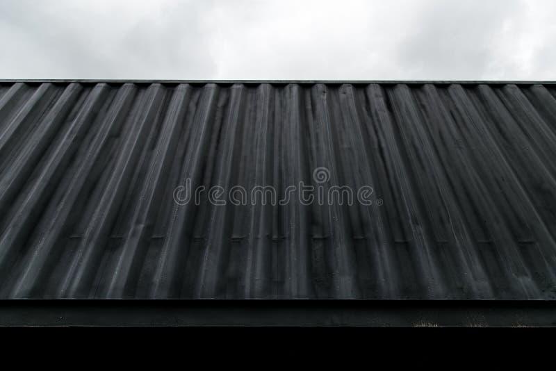 Texturen av den marin- metalliska behållaren är svart Närbild Trans. av havslaster arkivfoto