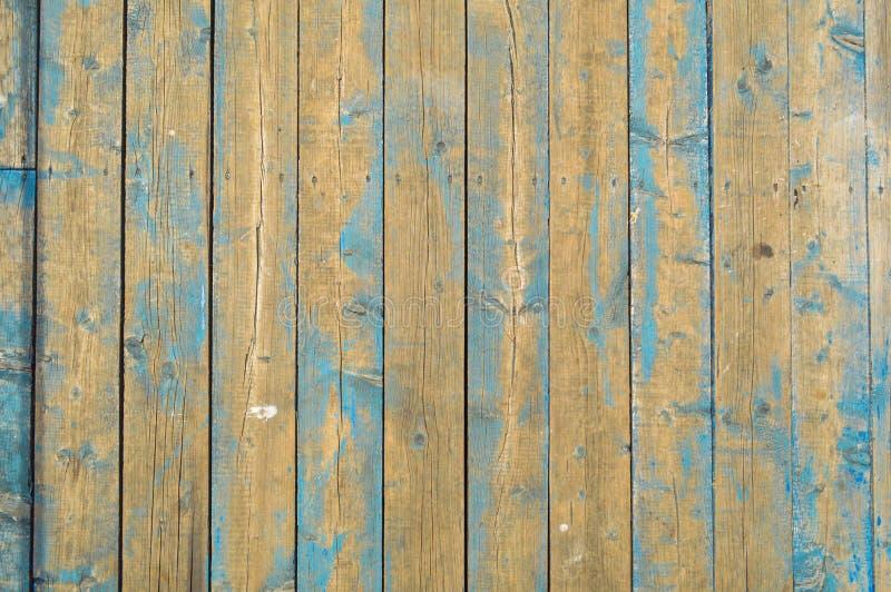 Texturen av naturliga träplankor med sömmar som målades med blå skalande målarfärg av gammalt skrapat sjaskigt, knäckte gr arkivbild