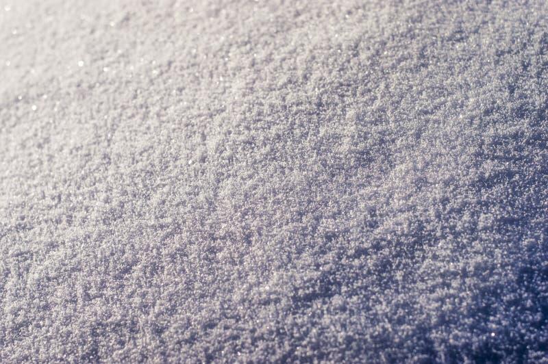 Texturen av snön som ligger en djupfryst kristallisering arkivbild
