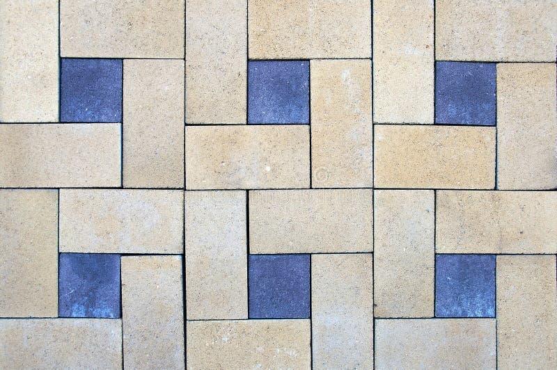 Texturen van de nood de oude bakstenen muur, vloertegel Mozaïektegels met geometrische patronen royalty-vrije stock foto