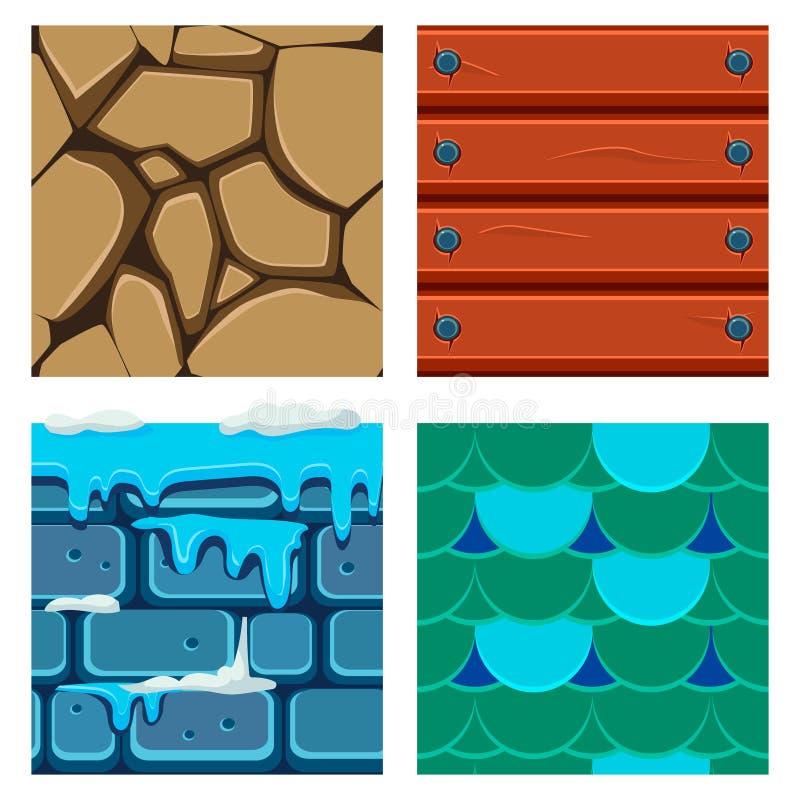 Texturen voor Platformers-Pictogrammen Vectorreeks van Hout vector illustratie