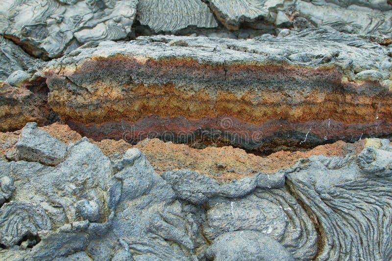 Texturer av svart lava (pahoehoe) i Santiagoön arkivbilder